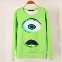 SIMPLE - Spring Summer Monster Company Mike Wazowski Print Cute Long Sleeve Women Casual Shirt Sweatshirt blouse T-shirt b4191