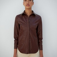 NAUM - Vegan leather shirt - Plum chutney croc pattern