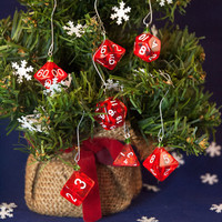 Red and White Transparent Dice Ornaments - Gamer Christmas Decorations with Green Crystal Accents