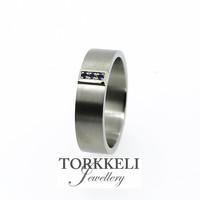 VALENTINES DAY SALE 5% Off size 10, Titanium wedding band with blue sapphire on white gold setting, men's wedding band, modern, blue ring