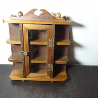Vintage Small Wooden Wall Display Cabinet/Shelf for Miniature Figurines