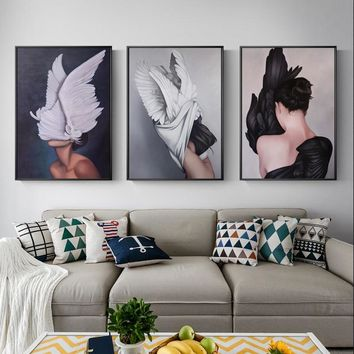 Abstract Beautiful Feather Angel Canvas Poster And Print Modern Lady Picture Paiting For Living Room Fashion Home Decor Wall Art