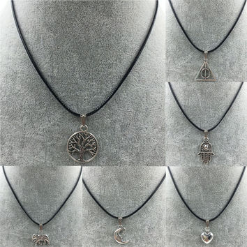 Hot Sale New 2015 European and American Long Simple Silver Cross Elephant Artificial Leather Necklace for Women and Men