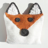 Fox Pillow CROCHET PATTERN Fox Decor Fox Decorations Fox Cushion Fox Plush Orange Woodland Nursery Forest Animal Gift Animal Throw Pillow