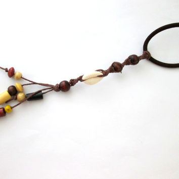 Hair Tie Hemp Hair Accessory Cowrie Shell Beaded Hair Piece