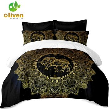 Tribal Elephant Bedding Set Golden Mandala print Black Duvet Cover Polyester King Queen Bed Cover Pillowcase Indian Style A30