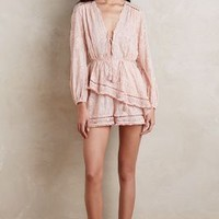 Zimmermann Tiered Silk Romper in Red Size: