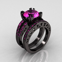 Modern Vintage 14K Black Gold 3.0 Carat Pink Sapphire Solitaire and Wedding Ring Bridal Set R102S-14KBGPS