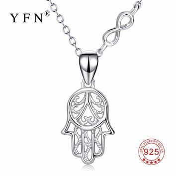 YFN Genuine 925 Sterling Silver Hamsa Hand Infinity Love Pendant Necklace Hand Of Fatima Lucky Fashion Jewelry For Women