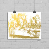 Alice in Wonderland Faux Gold Foil Art Print - Home Decor - Dorm Decor - Office Decor