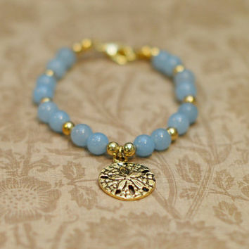 Gold & Blue Sand Dollar Bracelet  Baby Blue and by reverietrinkets