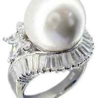 14mm Pearl Baguettes+Marquise Cz Around Ring