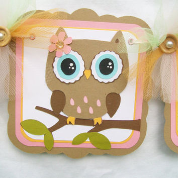 Woodland owl baby shower banner, green, pink, orange and brown, its a girl - READY TO SHIP