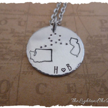 Long Distance Love - Personalize with your states and initials - Great Gift Idea - Long Distance Love - LDR