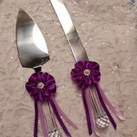 Wedding Cake Server and Knife set with handmade Purple Flower, Wedding Cake Knife