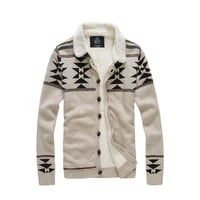 West Street Haku Men's Paisley Snow Knit Cardigan Sweaters Jacket