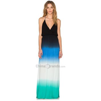Bohemian Plunging Neck Hollow Out Elastic Waist Ombre Print Dress for Women
