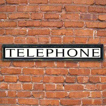 """Wooden handmade vintage style telephone sign framed out in reclaimed wood.  Choose from black/white or red/white.19""""x3""""x2"""" or 36""""x6""""x2"""""""