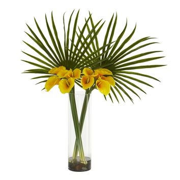 Artificial Flowers -Fan Palm and Calla Lily Yellow Arrangement
