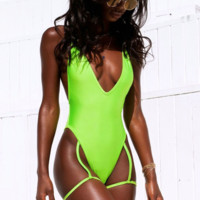 Summer New Fashion Solid Color Camouflage Straps One Piece Bikini Swimsuit Fluorescent Green