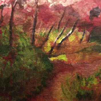 Cherry Blossom Painting. Watercolor Batik on Rice Paper. Original Impressionist Landscape Painting. Pink Cherry Tree Blossoms