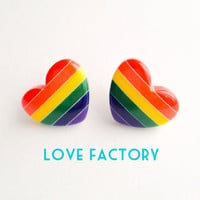 Rainbow Candy Heart Bright Post Earring :) Happy Lovely Cute Kawaii Jewelry & Accessory for Kids and Girls xoxo Love Factory