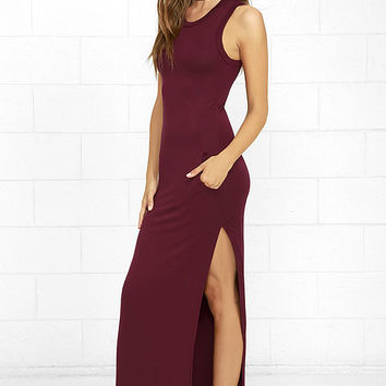 Shield and Sword Burgundy Sleeveless Maxi Dress