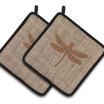 Dragonfly Faux Burlap and Brown   Pair of Pot Holders BB1062-BL-BN-PTHD