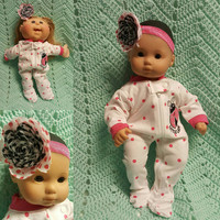 "Baby Doll Clothes to fit 15 inch baby doll ""Little Lady"" doll outfit with sleeper and headband hair clip lady bugs F4"