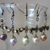 Bronze Bow, Colored Pearl & Crystal Accent Dangle Earrings, Handmade, Feminine Style, Classic Elegance, Fashion Jewelry, Adorable, Cute, Fun