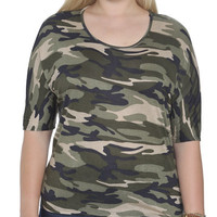 Camo Print Dolman Top | Shop Jr. Plus at Wet Seal