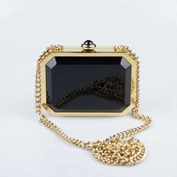 New. Chanel Gold/Black Chanel Premiere Watch Minaudiere Bag Gold Strap