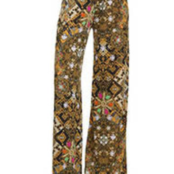 GOLD AND SPARKLE PRINT PALAZZO PANTS