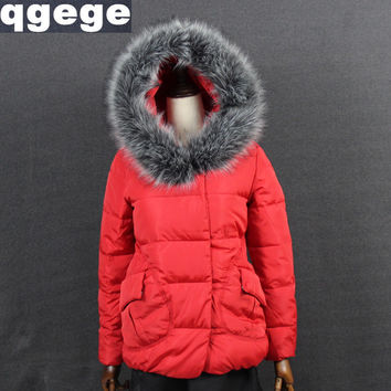 womens winter jackets and coats 2016 Parkas for women 5 Colors Wadded Jackets warm Outwear With a Hood Large Faux Fur Collar