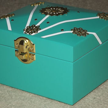 SOLID WOOD Box. With FREE Pendant. Gif Set. Teal, White & Gold box. Can be Personalised. Keepsake. Affirmation Box. Jewellery Box, Trinket