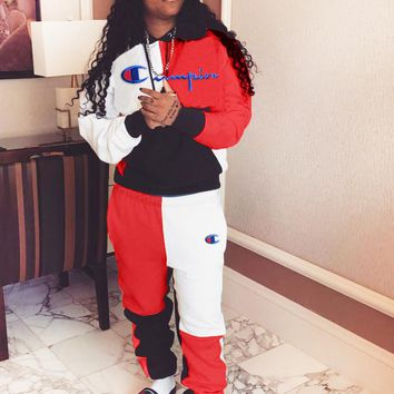 Champion Autumn And Winter New Fashion Embroidery Letter Sports Leisure Long Sleeve Top And Pants Two Piece Suit Red