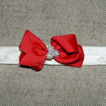 Baby Christmas bow ,  red mini bow , satin elastic headband , infant Christmas headband , baby headband , toddler Christmas , 2.5 inch