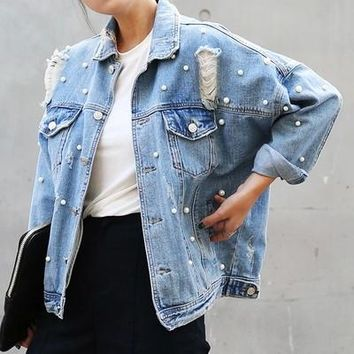 Bead pearl Jeans Studded women denim jacket