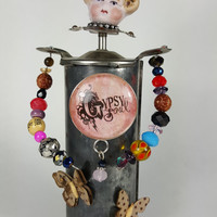 Assemblage Art ~ Assemblage Doll Art ~ Frozen Charlotte ~ Gypsy ~ Mixed Media ~ Vintage Doll ~ Porcelain ~ Cookie Press ~ Altered Art