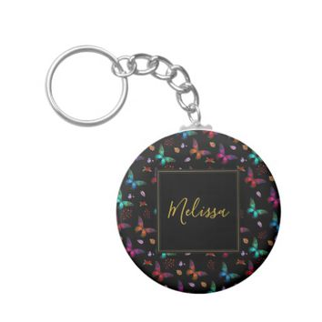 Elegant Colorful Butterflies Pattern on Black Keychain