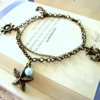 Charm Bracelet Sea Nautical Antique Style Starfish bracelet Vintage Inspired Anchor and Rudder bracelet