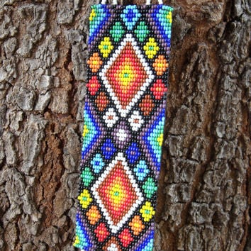 HUICHOL INSPIRED PEYOTE - Beadwork - Peyote Cuff - Colorful Bracelet