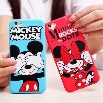 Soft Silicone Case for iPhone 6s 6 Plus Cute Cartoon Minnie Mickey Mouse Donald Phone Cover for Iphone 6s Cases Lovely