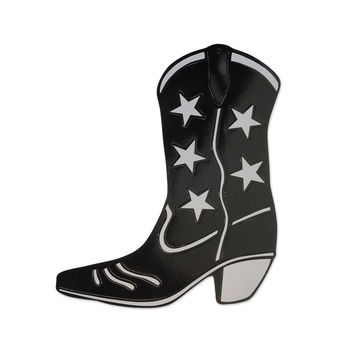 Foil Cowboy Boot Silhouette Black- Pack of 24