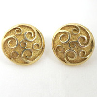 Vintage Trifari Goldtone Scroll Button Earrings, Clip-on Earrings