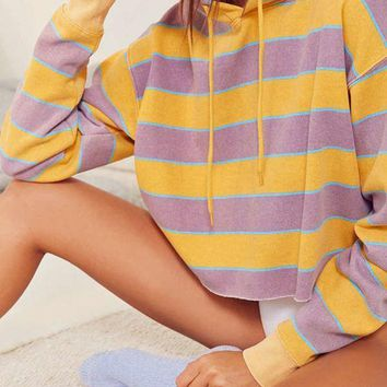 Out From Under Striped Cropped Hoodie Sweatshirt | Urban Outfitters