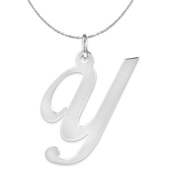 Sterling Silver, Ella Collection, LG Fancy Script Initial Y Necklace