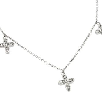 .925 Sterling Silver Rhodium Plated Three Small Cross Cubic Zirconia Necklace 18 Inches