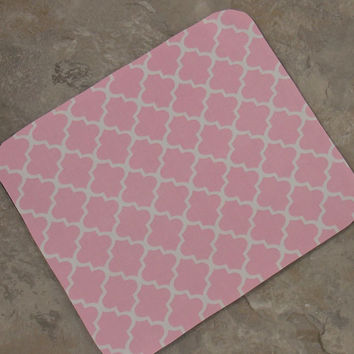 Free Shipping Pink Mouse Pad Waverly Fabric Mouse Pad Office Decor Mouse Pad Abstract Geometric Mouse Pad Moroccan Style Mouse Pad