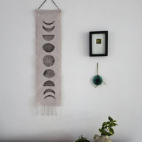 Gift under 30, Moon Phase, Wall Hanging, Boho chic, Fringe, Block Print ,Modern Home Decor